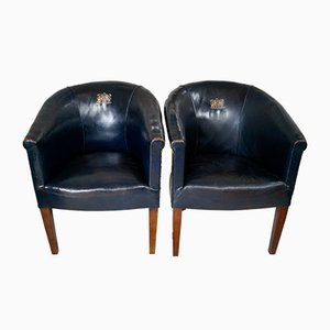 Vintage Leather Tub Chairs, Set of 2