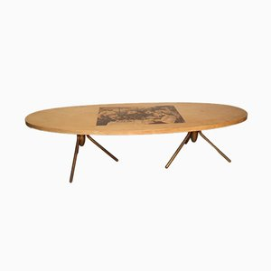 Table Basse avec Peinture de Gaugin par Aldo Tura, 1950