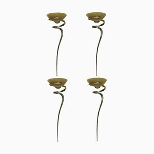 French Brass & Glass Sconces, 1950s, Set of 4