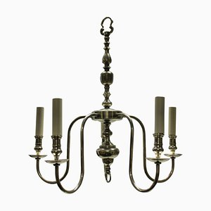 English Silver-Plated Chandelier, 1920s