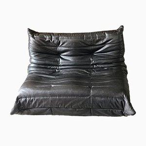 Canapé Togo Vintage en Cuir Noir par Michel Ducaroy pour Ligne Roset