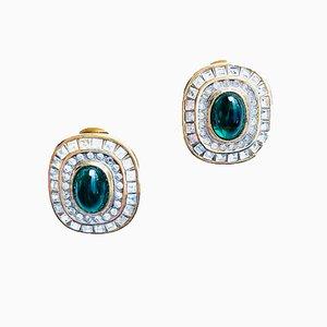 Malachite, Topaz & Swarovski Crystal Clip-On Earrings, 1980s