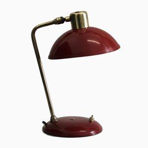 Französische Art Deco Schreibtischlampe in Rot & Gold, 1950er