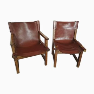 Poltrona e sedia senza braccioli in noce e pelle di Paco Muños per Darro, 1959, set di 2