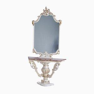 Spiegelkonsole im venezianischen Stil mit Marmorplatte