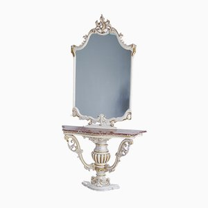 Venetian Style Mirror Console with Marble Top