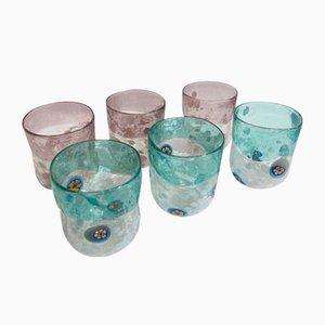 Vasos de agua Vanitoso italianos vintage de cristal de Murano de Maryana Iskra para Ribes Studio. Juego de 6