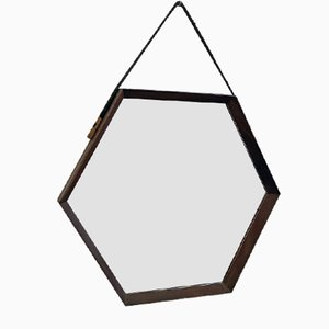 Mid-Century Italian Modern Hexagonal Mirror with Teak Frame, 1960s