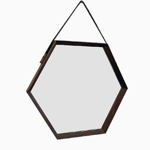 Moderner sechseckiger italienischer Mid-Century Spiegel mit Rahmen aus Teak, 1960er