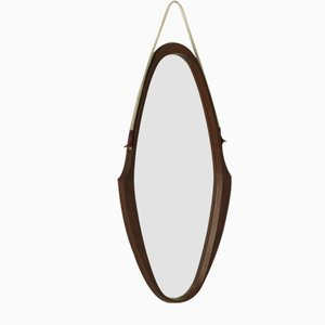 Wall Mirror in Solid Teak, Italy, 1958