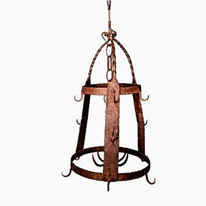 Antique French Wrought Iron Hanging Crown Butchers Rack