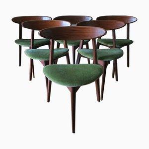Dänische Dreibein Esszimmerstühle aus Teak & Mohair, 1960er, 6er Set