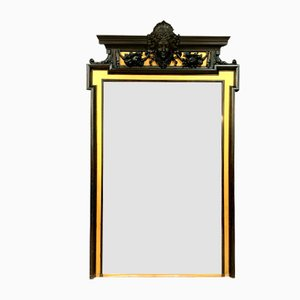 Renaissance Château Mirror in Gilded and Blackened Wood, 1850s