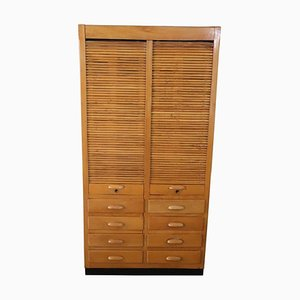 Vintage Large Apothecary Cabinet with Handmade Sliding Shutter Doors, 1940s