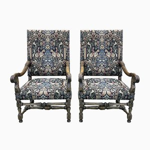 Louis XIII Style Chairs in Walnut and Beech, 1930s, Set of 2