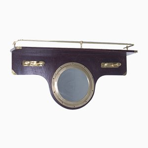 Marine Style Coat Rack with Porthole Mirror and Brass Details