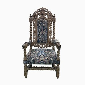 Louis XIII Style Armchair in Oak, Early 20th Century