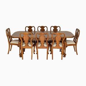 Antiker Esstisch & Stühle aus Nusswurzelholz, 9er Set