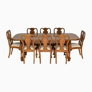 Antique Burr Walnut Dining Table & Chairs, Set of 9