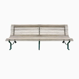 Large Garden Bench in Wrought Iron and Oak, Early 20th Century