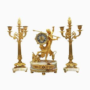 Pendulum Clock with Empire Candelabras in Gilt Bronze and Onyx, 19th Century, Set of 3