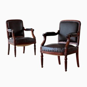 Leather Upholstered Mahogany Armchairs, Set of 2