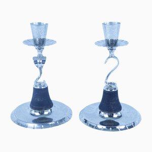Art Deco Cobra Candlesticks by OH Lagerstedt for AB Eskilstuna, Set of 2