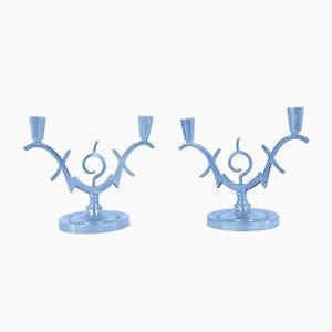 Art Deco Zinn Kerzenständer, 2er Set