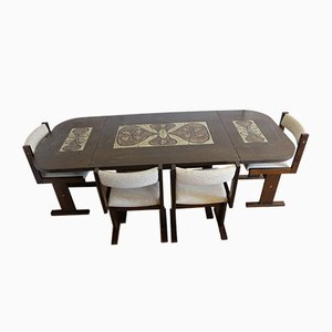 Dinner Table Set with 4 Chairs by Poul H. Poulsen for Gangsø Møbler, Denmark, Set of 5