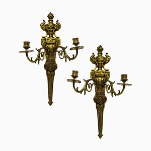 Gilt Bronze Sconces Depicting Kings, Set of 2