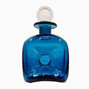 Ozeanblaue Flasche von Jacob E. Bang für Kastrup Glasværk
