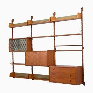 Unidad de pared modular Ergo de teca con escritorio, 8 estantes y 2 armarios de John Texmon para Blindheim Møbelfabrikk, años 60