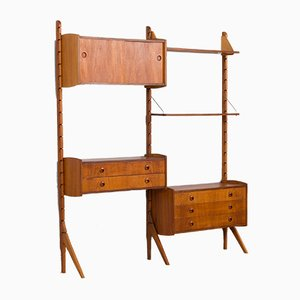 Teak 2-Bay Ergo Modular Wall Unit with Double Chest of Drawers, a Cabinet & 2 Shelves by John Texmon for Blindheim Møbelfabrikk, 1960s