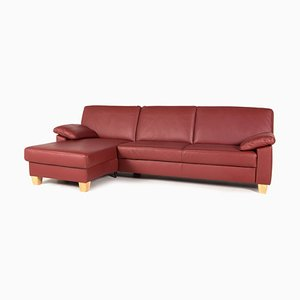 Rotes Ecksofa aus Leder von Puro