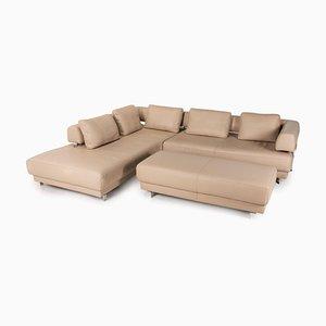 Beige Leather Living Room Set by Ewald Schillig, Set of 2
