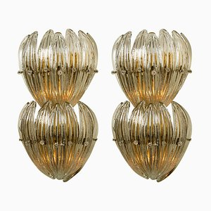 Large Brass Wall Lights with Glass Leaves by J.T. Kalmar, 1960, Set of 2