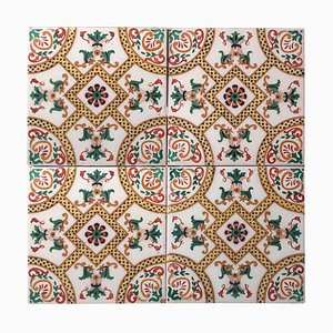 Antique Ceramic Tile with Fish by Onda Spain, 1900