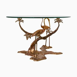 Large Brass Coffee Table by Willy Daro, Belgium, 1970s