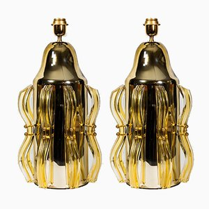 Table Lamps with Amber Coloured Mirror Glass, Set of 2