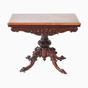 Viktorianischer Kartentisch aus geschnitztem Palisander