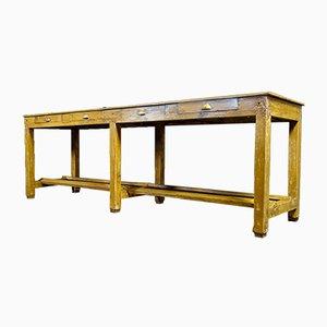 Mesa de cocina Brocante larga con cajones en amarillo ocre, principios de 1900