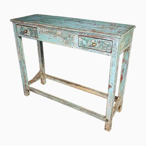 Wabi Sabi Side Table with Drawers in Turquoise