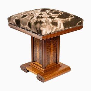 Art Deco Hocker aus Eiche und Eichenholz Intarsie