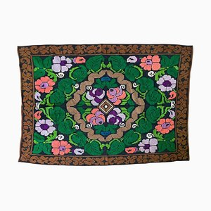 Romanian Handmade Green Floral Carpet with Colorful Design
