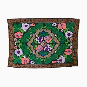 Rumänischer Handgemachter Grüner Blumenteppich mit Buntem Design