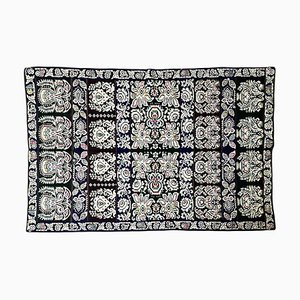 Romanian Handwoven Wool Floral Rug with Floral Design