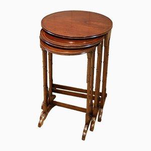 Circular Mahogany Nesting Tables, Set of 3