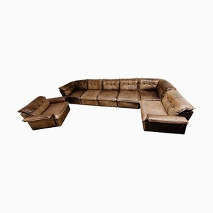 Vintage Brown Leather Modular Sofa by Laauser, 1960s, Set of 7