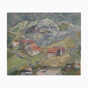 Berthe Dubois, Paysage de montagne et chalets, 1946