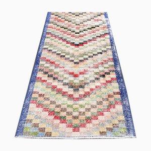 Vintage Turkish Oushak Handmade Colorful Wool Runner Rug